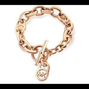 Michael Kors Logo Rose Gold Tone Toggle bracelet